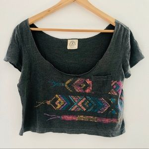 American Eagle Outfitters Grey Cropped Vintage Tee